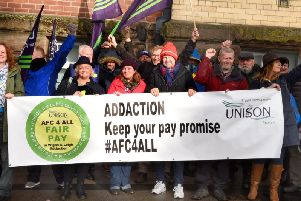 Addaction staff on the picket line in Wigan