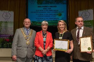 Left to right: Wigan Mayor Cllr Steve Dawber, Mayor of Sefton Cllr Jane Burns, Wigan's Borough in Bloom co-ordinator Tracey Williams and Ged Lockett, head gardener of Jubilee Park. Picture by Nick Fairhurst.