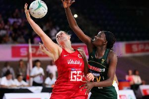 Eleanor Cardwell (left) in action for England against South Africa'Picture: ENGLAND NETBALL