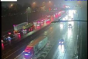More than eight miles of traffic has been reported on the M62 at Wakefield this evening. Photo: Highways Englad