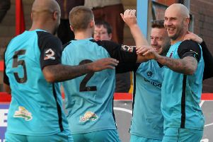 Chorley's players celebrate Elliot Newby's goal at Kidderminster on Saturday. Picture: Josh Vosper
