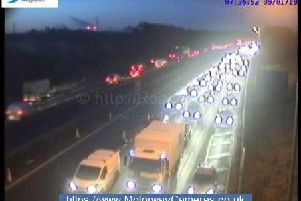 Traffic is at a standstill on the M62 near Manchester after a multi-vehicle collision this morning.
