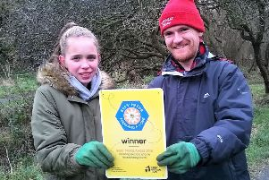 Friends of Brierdene volunteers Leah Devereux and Scott Sinclair with the Bees Needs' National Award.