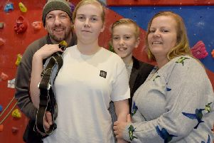 Abbie Parkes-Holden with her family at Wigan Youth Zone
