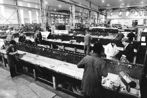 The open plan workshop at Hebburn Centre of British Shipbuilders North East Training and Safety Co in  February 1981.