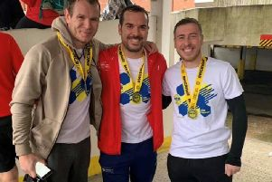 Jon Leggott, Scott Barlow and Michael Mackenzie, who are running the London Marathon for Wigan and Leigh Hospice