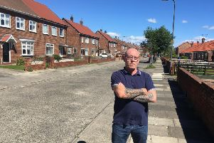 Colin Brown is appealing for witnesses to come forward after vandals smashed his taxi outside of his Hebburn home