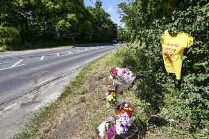 Flowers were left at the scene.