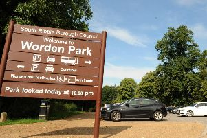 The entrance to the main car park at Worden Park