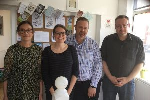 Nikki Bradshaw, Lisa Stout, manager Stuart Hutton-Brown and Nick Wade.'Credit: Counselling in the community