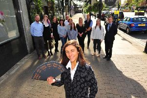 Launching Prince Albert Row in Harrogate - Sarah Woods of Woods Fine Linens with the new leaflet and business owners on the parade of shops. (Picture Gerard Binks)
