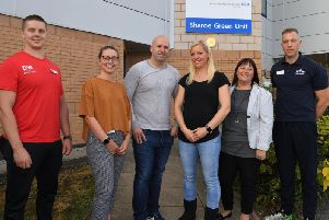 Lizz and Nick Davidson are raising money for cuddle cots at RPH with fundraising events, from left Matt Williamson of DW Sports. Specialist Midwife Lauren Dawson, Nick and Lizz Davidson, Kate Raynor and David Foolkes of Fulwood Leisure Centre