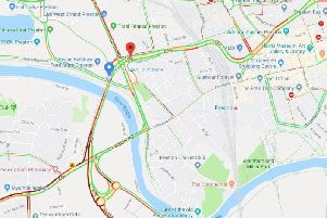 This map shows live traffic conditions for the affected routes in Penwortham and Preston following a four-car crash at around 8am this morning (September 18)