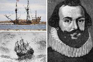 A replica of the Mayflower, top; an illustration of the Mayflower's voyage to America, bottom; and Myles Standish, right