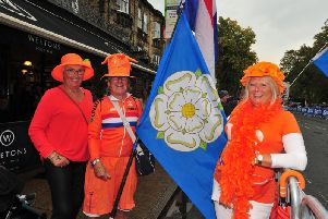Dutch fans with a Yorkshire flag, from left: Marianne U.Schie, Hermann Pruisken and Martine De Wit. Picture b y Gerard Binks.