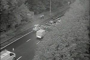The M6 northbound exit slip at junction 23 in Haydock has been closed this morning and emergency services have been called to the scene (September 25)