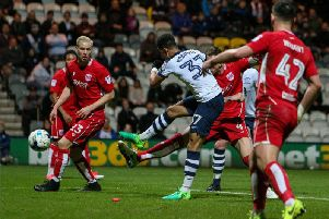 Callum Robinson scores for Preston against Bristol City at Deepdale in April 2017