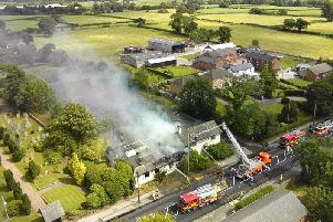 An aerial shot of the fire in July