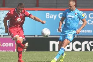Adam Buxton scored the Shrimps' first goal against Northampton Town