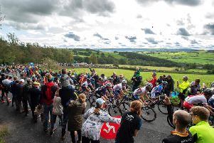 The women's elite road race going up Norwood Edge in Wharfedale (Photo: Bruce Rollinson).