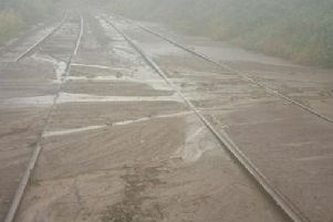 The mudslide that blocked the railway. Picture by Northern