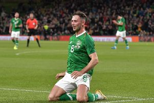 Preston midfielder Alan Browne celebrates scoring for the Republic of Ireland against Bulgaria in September