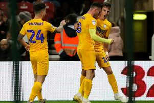 Jposh Harrop is congratulated by Alan Browne and Sean Maguire after giving Preston the lead against Middlesbrough at the Riverside Stadium