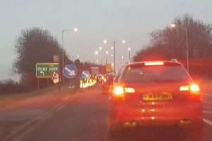 The M55 junction 3 slip road at Kirkham Roundabout remains closed this morning due to overrunning roadworks