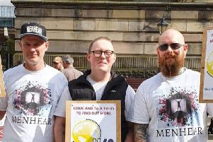 Menhear founder William Killeen (left) with Conner Cooke (centre), and Kyle Robinson.