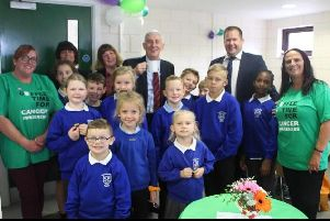 The Residents Group at Clayton Brook Chorley held a Macmillan coffee morning for Clayton Brook School, Paul McNeilly from Places For People and Sir Lindsay Hoyle.
