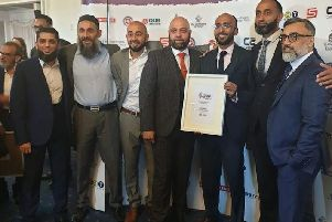 Sajid Patel, Dr Billal Patel, Mubeen Patel, Imran Master, Sadiq Patel, Mohammed Ismail, and Suleman Adam at the 2019 Fusion Awards