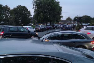Traffic mayhem in the streets near All Hallows during the opening evening.