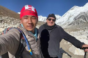 Andrew Turner MBE, right, at Everest Base Camp along with his guide