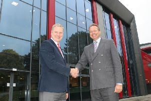 Mark Biggs, of Nottingham Trent University, left, and Andrew Cropley, college principal.