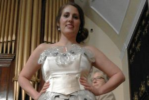 The ball gown made by Angela Elders out of colostomy bags.
