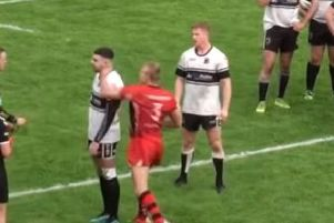Callum Jones of Langworthy Reds (pictured wearing the No.3 jersey) has been banned for life after sucker punching a Chorley Panthers player