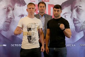 Ted Cheeseman and Scott Fitzgerald at the Press Conference ahead of their Super Welterweight Fight