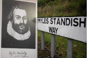 A portrait of Myles Standish and Myles Standish Way (Images: Chorley Council)