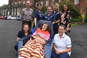 The Sue Ryder team with Heather Barker (centre), who has juvenile Huntingtons disease