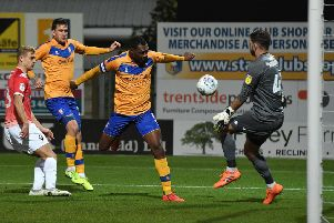 Picture: Andrew Roe/AHPIX LTD, Football, Sky Bet League Two, Mansfield Town v Salford City, One Call Stadium, Mansfield, UK, 22,10/19 K.O 7.45pm''Mansfield's Krystian Pearce has his effort saved by Salford's Mark Howard'Howard Roe>07973739229