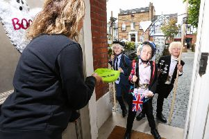 Jack Waterson, aged 7, Presley Kempson and Jamison McCarthy, both aged 10,  styled as three of the Prime Minister's most iconic looks; Zipwire Boris, Biking Boris and Bullingdon Boris
