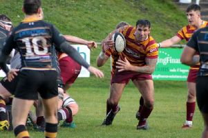 David Fairbrother on the charge for Fylde at Caldy  Picture: FYLDE RFC