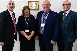 Eileen and Gary Vizard with Sir Lindsay Hoyle  MP and Jonathan Lawson at the EnergyAce grand opening.