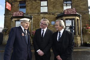 """Unveiling of Blue Plaque in honour of Reginald Earnshaw the youngest known British serving casualty WWII at the Brewers Pride , Ossett in September. 'John Hirst, who served with  the Merchant Navy in WWII, unveiled the plaque with landlord Stephen """"Chalky"""" Whyte and Alan Howe local historian."""