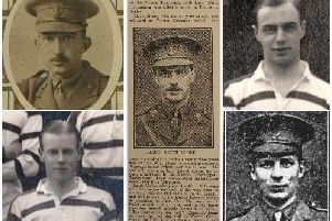 Capt Arthur Lea Harris, top right, Lt Keith Moore, centre; and in his Grasshoppers shirt, top right; Capt John Laurence Whitfield, bottom right; and 2nd Lt Herbert Samuel Penny Blair, bottom left