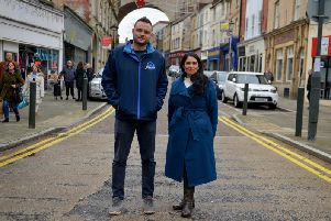 Home Secretary Priti Patel with Ben Bradley in Mansfield.