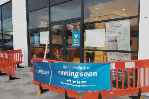 Work taking place inside Greggs on the Fulwood Central Retail Park (Image: JPIMedia)