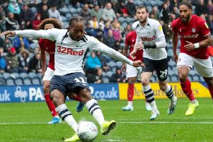 Daniel Johnson scores from the penalty spot in Preston's 3-3 draw with Bristol City
