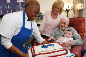 Centenarian Bill Gammon celebrates his 100th birthday with family, friends and staff at Greenways Rest Home