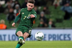 Preston striker Sean Maguire scores for the Republic of Ireland against New Zealand in Dublin